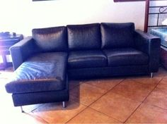 Ike'a black leather couch