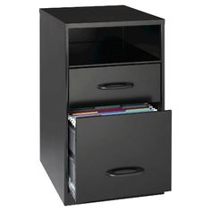 Keep your office organized with this versatile Space Solutions 2-drawer file cabinet. One file drawer and one smaller drawer make this versatile cabinet perfect for holding hanging folders files and office accessories. With open shelf, this easily accessible design keeps materials close at hand. The Space Solutions file cabinet is designed for occasional use where moderate retrieval is required.