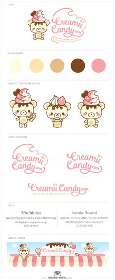 A Kawaii Logo and Character Design for Creamii Candy by www.sugaroverkill.com.