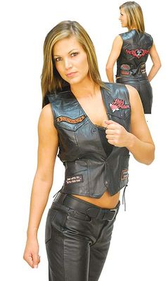 Women's Patched Lady Rider Leather Vest
