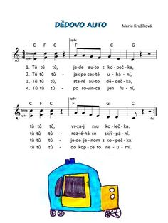 Písnicky Kids Songs, In Kindergarten, Piano, Transportation, Preschool, Children, Sheet Music, Musica, Pos