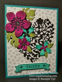 I am so happy that Botanical Blooms and Bloomin' Love stamp sets made it into the new annual catalog!  This card was made for the Creative Crew catalog focus for June.  I used re-inkers to do a wash onto watercolor paper (Rich Razzleberry & Bermuda Bay) which resulted in some rich vibrant colors!  After allowing the watercolor paper to dry, I used Botanical Builder Framelits to cut out the flowers.