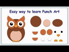 Can you see that these funny pictures are actually made with only paper circles? It's a fun and interesting crafts activity for both you and yo. Diy Owl Cards, Owl Punch Cards, Baby Cards, Owl Crafts, Paper Crafts For Kids, Paper Crafting, Paper Piecing Patterns, Card Patterns, Paper Punch Art