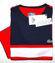 0ba8f7aa3b2de4 NWT Lacoste Sports Men s Navy Red White Polyester Athletic Shirt 3XL Eu 8  Lacoste