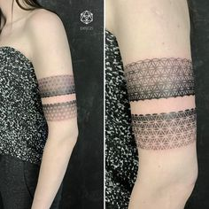 geometric pattern armband tattoo by pejczi, polish tattoo artist