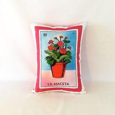Maceta flower pot Loteria Pillow Cover  Mexican by PillowandPocket