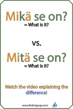 """How do you know when to use 'mikä' and when to use 'mitä' in a question: """"____"""" se on? The answer has to do with the partitive. They are the same word - it's just that 'mitä' is the partitive form of 'mikä'. Watch this video to get the full explanation! Finnish Grammar, Finnish Words, Finnish Language, German Language Learning, Japanese Language, Teaching French, Teaching Spanish, Spanish Activities, French Lessons"""