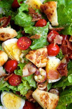 B.E.L.T. Salad with Quick Bagel Croutons and Parmesan Vinaigrette