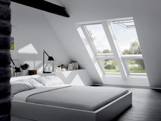 Find a top hung VELUX roof window for every loft conversion or home extension project, and at prices to suit every pocket. Loft Room, Bedroom Loft, Dream Bedroom, Home Bedroom, Bedroom Decor, Extra Bedroom, Attic Bedrooms, Attic Spaces, Suites