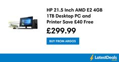 HP 21.5 Inch AMD E2 4GB 1TB Desktop PC and Printer Save £40 Free C+C, £299.99 at Argos
