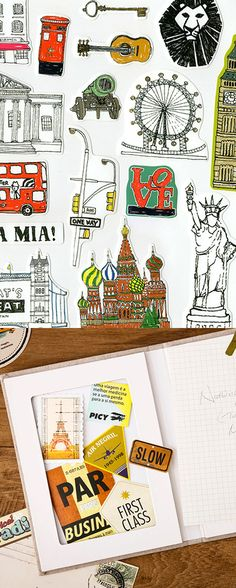 Travel cities and monuments all over the world with these cute illustrated stickers! London, Paris, Moscow, and many more are waiting~! Travel Gallery Wall, Merry Christmas Wallpaper, Planner Inserts, Travel Kits, Travelers Notebook, Amazing Destinations, European Travel, Project Life, Monuments
