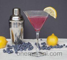 Blueberry Lemon Drop Martini made with fresh lemon juice and blueberry vodka
