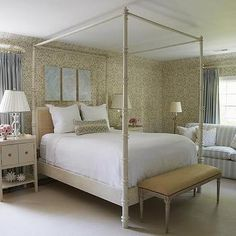 White and Gold Bedroom with White Canopy Bed