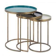 Beistelltisch mit Gestell Metall gold, Top oliv emaille, _ 40,5 cm, 51 cm Coffee, Furniture, Home Decor, Enamel, Deco, Vases, Metal, Kaffee, Decoration Home