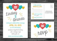 Same Sex Wedding Invitation and RSVP Card  Custom by TwineAndTrue, $35.00