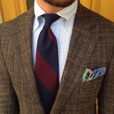 Brown textured blazer, button down Bengal stripe shirt, red and blue repp tie, pocket square