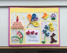 Paper Quilled Birthday card by Karen Miniaci