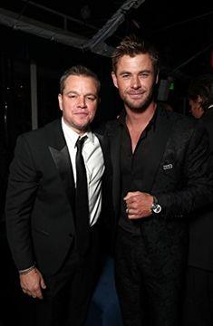 Double trouble: Chris later posed with Jason Bourne star Matt Damon Golden Globes After Party, Golden Globe Award, Chloe Bridges, Chris Zylka, Bryan Tanaka, Samira Wiley, Rumer Willis, Jason Bourne, Rachel Brosnahan