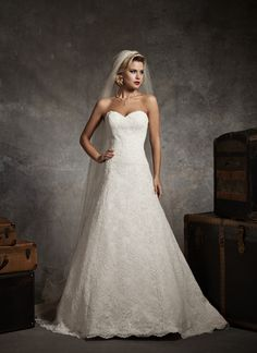 This is like my dream dress.    Shown in Ivory/Light Gold  Strapless sweetheart all over alencon lace A-line, with buttons over the back zipper, and a chapel length train.