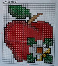 Maçã 123 Cross Stitch, Cross Stitch Fruit, Easy Cross Stitch Patterns, Cross Stitch Kitchen, Simple Cross Stitch, Cross Stitch Flowers, Cross Stitch Designs, Cross Stitching, Cross Stitch Embroidery