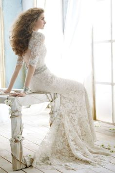 lace wedding dresses with sleeves, bling belt and open back