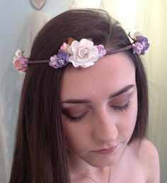 Flower Crown by LillyDillys on Etsy Veil Hairstyles, Flower Girl Hairstyles, Flower Crown Wedding, Wedding Flowers, Flower Crowns, Bridesmaid Hair, Bridesmaids, Lilac, Purple