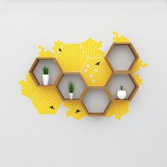 K i t - For nature and bee lovers this is a fantastic addition to our This kit contains everything shown here, of our hexagon shelves in the dark oak finish, 6 pieces of honeycomb decal and a set of bees to Hexagon Wall Shelf, Bathroom Wall Shelves, Bathroom Baskets, Yellow Room Decor, Diy Room Decor, Bee Design, Bee Theme, My New Room, Wall Stickers