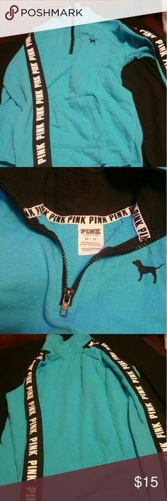 Pink sweatshirt teal color Teal pull over sweatshirt PINK Victoria's Secret Tops Sweatshirts & Hoodies