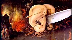 from Garden of Earthly Delights. will further explore idea of ear in exaggerated scale/monumental ear with very small people Garden Of Earthly Delights, Positive And Negative, Scene, Ears, Image, Explore, People, Stage, Folk