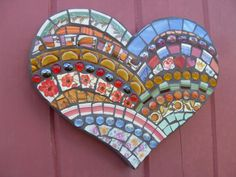 Mosaic Art Heart Wall Plaque Colorful Mexican by DumbLadyMosaics, $39.99