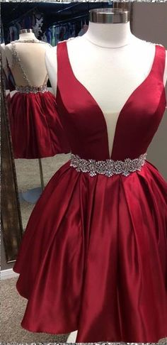 Charming Prom Dress,Satin Homecoming Dress,V-Neck Graduation Dress,Beading Prom #HomecomingDress