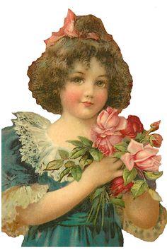 Vintage girl with flowers ~ Frances Brundage?