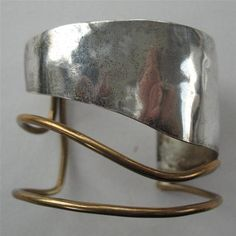 louis booth, mid century sterling & brass cuff