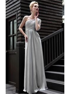 Silver Gorgeous A-line Floor-length One Shoulder Dress