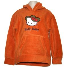 NEW Hello Kitty Girls Microfleece Hoodie Hooded Top Orange Size 4 5 Hoods, Hello Kitty, Orange, Sweatshirts, Girls, Sweaters, Fashion, Moda, Cowls