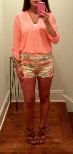 southern charm. (there isn't anything much sweeter than southern charm…except for maybe these scalloped floral shorts. floral has been a must have this season and the combination of colors in these patterned shorts is absolutely adorable. a loose, bright blouse brings balance and boldness to these high-waisted shorts. whether you choose strappy sandals, wedges, or cowboy boots, there is one thing for sure…this look is downright darlin', ya'll!)