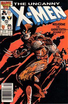 Uncanny X-Men 212 - Wolverine - Sabretooth - Marvel - X-men - Anniversary - Barry Windsor-Smith Marvel Wolverine, Marvel Comic Books, Comic Book Characters, Marvel Characters, Comic Books Art, Comic Art, Book Art, Frames, X Men