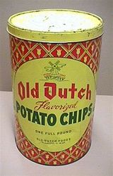 want this 1950s Old Dutch potato chip tin. reminds me of grandma...