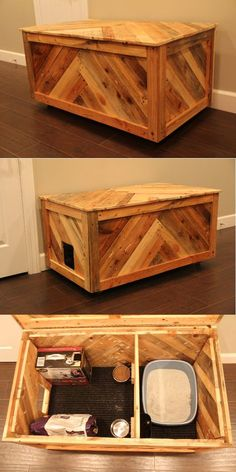 All in one cat box or blanket chest made out of reclaimed pallet wood. All in one cat box or blanket chest made out of reclaimed pallet wood. The post All in one cat box or blanket chest made out of reclaimed pallet wood. appeared first on Wood Ideas. Cat Box Furniture, Rustic Cat Furniture, Furniture Plans, Kids Furniture, Furniture Design, Wood Pallets, Pallet Wood, Diy Pallet, Pallet Ideas