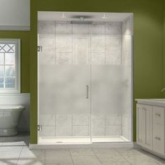 "DreamLine Unidoor Plus 30.5"" x 72"" Hinged Shower Door Trim Finish: Chrome, Glass Type: Half Frosted Glass"