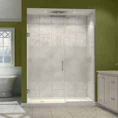 "DreamLine Unidoor Plus 38.5"" x 72"" Hinged Shower Door Trim Finish: Chrome, Glass Type: Half Frosted Glass"