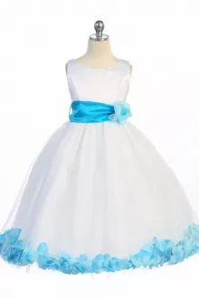 White/Turquoise Satin & Tulle Petal Flower Girl Dress with Sash & Flower