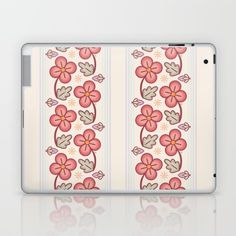 Skins are thin, easy-to-remove, vinyl decals for customizing your laptop. #decor #homedecor #interiordesign #floral #flowers #floralpattern #vintage #laptop #ipad #tech #red