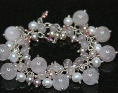 Pale Pink Rose Quartz, Pearl, Swarovski Crystal and Sterling Silver Fringe Bracelet - Edit Listing - Etsy