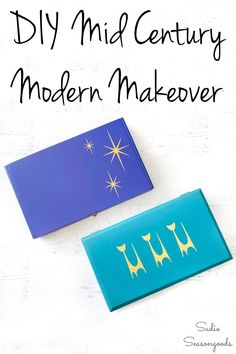 A pair of wooden cigar boxes gets a mid century modern makeover with bold colors and retro graphics with this fun and easy upcycling tutorial. Now they can be used as storage AND decor, and no one will know the difference. #mcm #midcentury #midcenturymodern #cigarboxes #upcycledcigarbox #modernstyle #retrodecor #midcenturycat #midcenturystencils Diy Projects To Try, Crafts To Make, Craft Projects, Wooden Cigar Boxes, Midcentury Modern, Thrifting, Repurposed, Upcycle, Mid Century