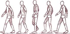 The Basic five steps to making a walking animation. Movement Drawing, Gesture Drawing, Drawing Sketches, Pencil Drawings, Figure Drawing Reference, Animation Reference, Art Reference Poses, Walk Cycle Reference, Character Sketches