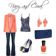 Navy and Coral, created by jesshehr on Polyvore