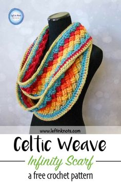 This free crochet pattern and video tutorial will show you how to turn one skein of yarn into a stunning Celtic weave infinity scarf.  You will need just one cake of Caron Cakes yarn to make this bright rainbow scarf perfect for a St. Patrick's Day or even year round accessory. #crochet #freecrochetpattern #yarnspirations #caroncakes