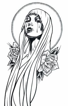 Black and White Illustrations by Adam Isaac Jackson Illustrations en noir et blanc par Adam Isaac Ja Tattoo Sketches, Tattoo Drawings, Drawing Sketches, Body Art Tattoos, Art Drawings, Tattoo Ink, Sleeve Tattoos, Tattoo Outline Drawing, Mary Tattoo