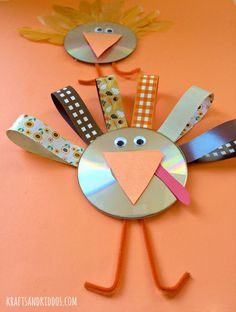 CD Turkey Craft for kids on Thanksgiving - Krafts and Kiddos